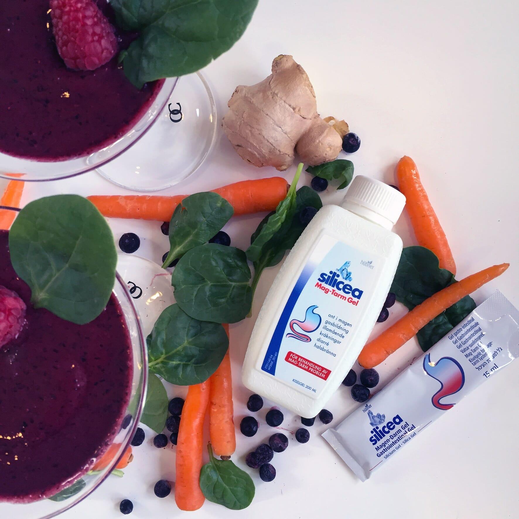 Mag-Smothie med Silicea Mag-Tarm, morot, ingefära, blåbär, bladspenat, banan och sojamjölk