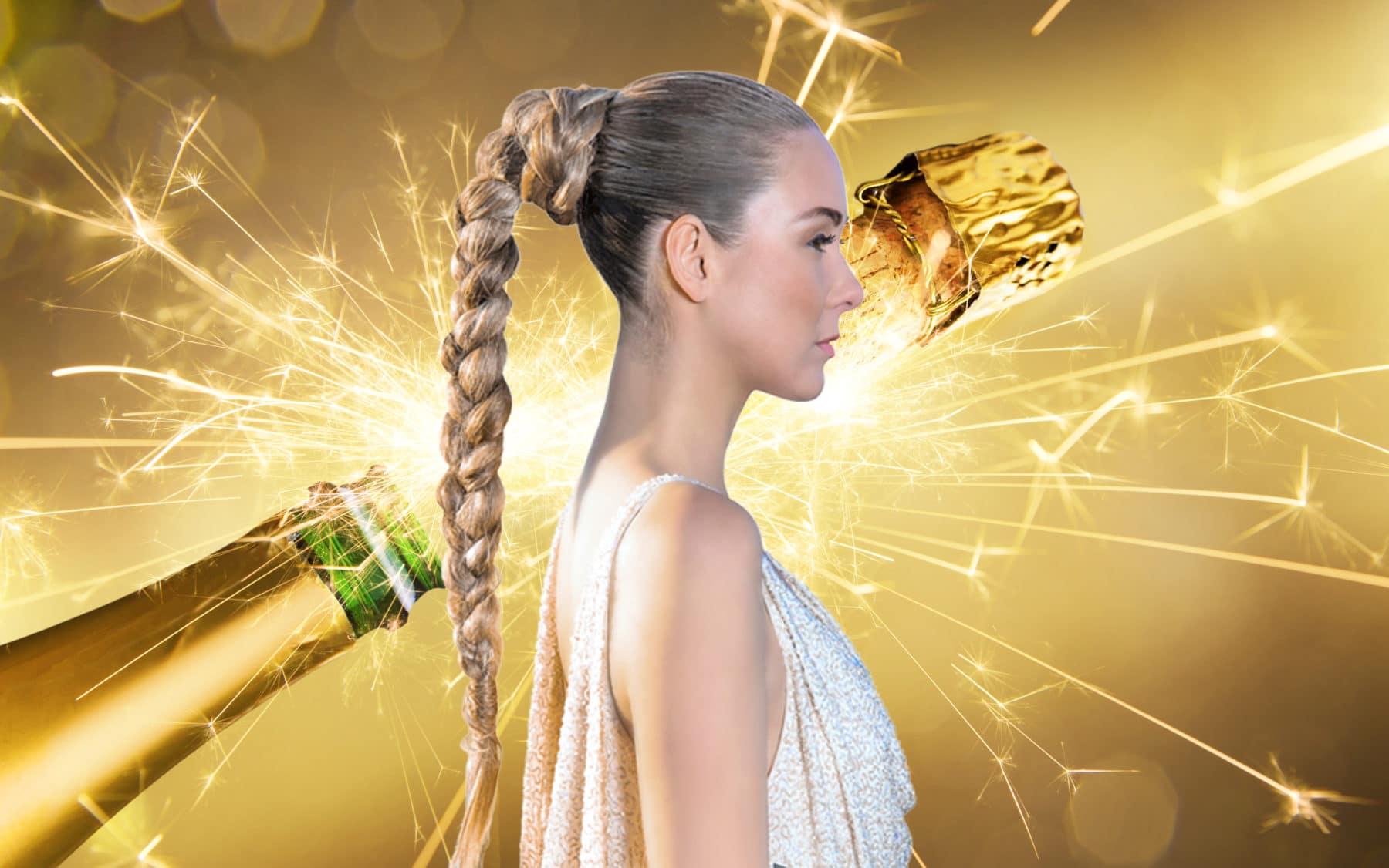 champagne håret