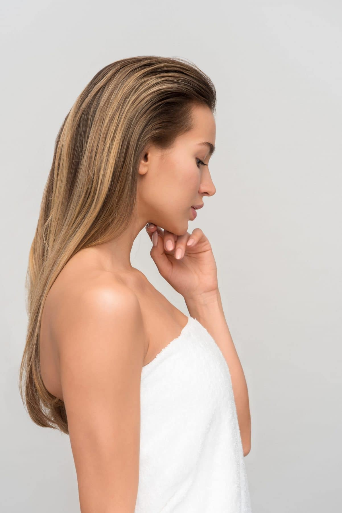 Kvinna med friskt hår